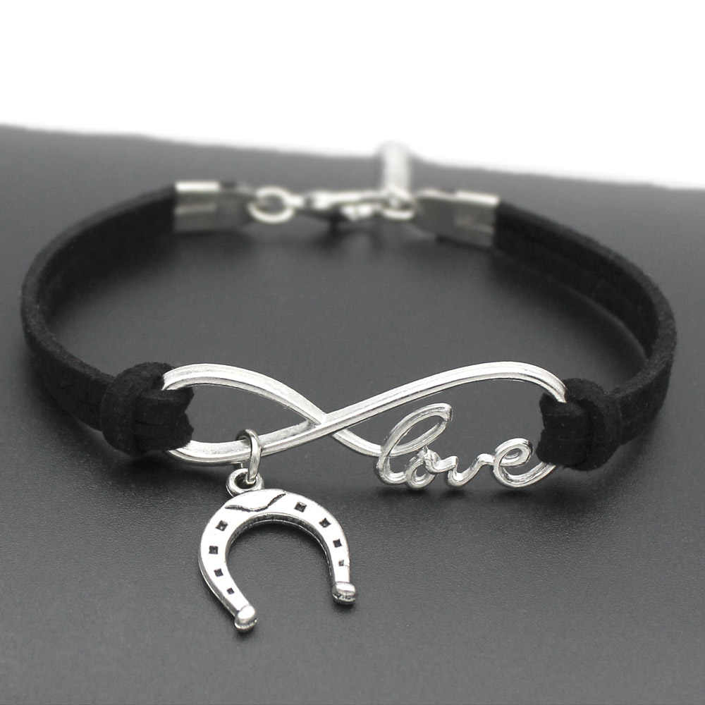 1pcs infinity handmade Women Stylish Horseshoe Charms Bracelets Horse Hoof Leather Bracelet Friendship Gift 7371