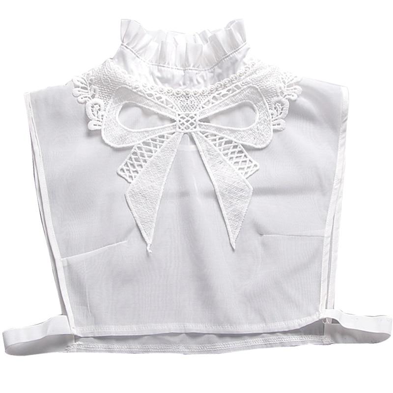 Exkluzivní hezká bílá stojící límec dekorace bílá retro bavlněná límec femme korálek Dekorativní dáma divoká košile falešný límec
