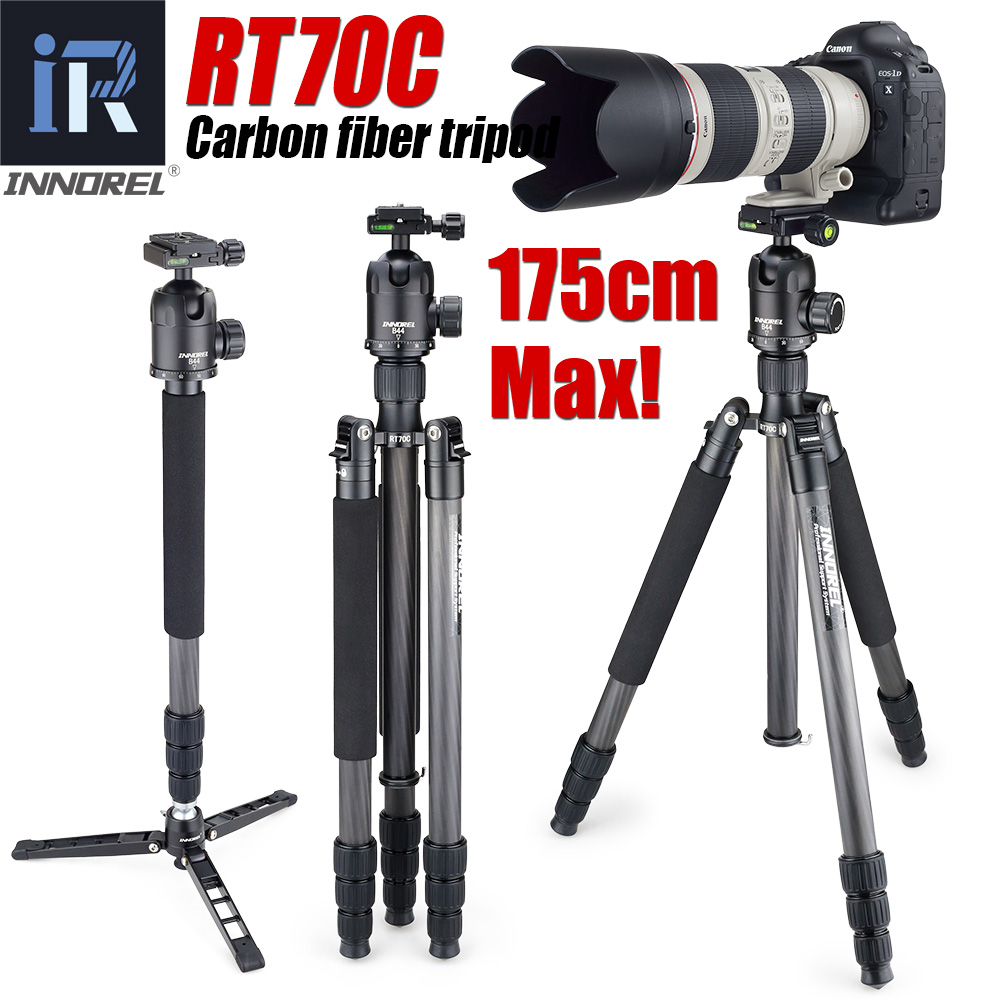 Rt70c fibra de carbono tripé monopé para digital profissional câmera dslr telefoto lente resistente suporte tripode altura máxima 175cm
