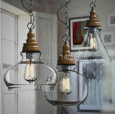 ФОТО Vintage Edison Retro Loft Glass Bottle Wood Pendant Light Cafe Bar Store Hall Club Shop Bedroom Pendant Lamps Painted Finished
