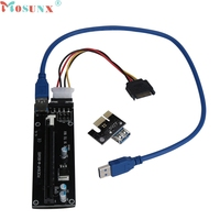 Ecosin2 Extender Cable PCI E Express Powered Riser Card W USB 3 0 Extender Cable 1x