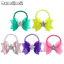 ncmama Small 3 Inch Jelly Bows for Girls with Hair Rubber Band Handmade Waterproof Swim/Pool Glitter Star Kids Headwear
