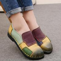 2017 Women Shoes Genuine Leather Loafers Women Mixed Colors Casual Shoes Handmade Soft Comfortable Shoes Women