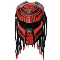 New predator carbon fiber motorcycle helmet full face moto helmets men night street racing helmet red laser light helmet