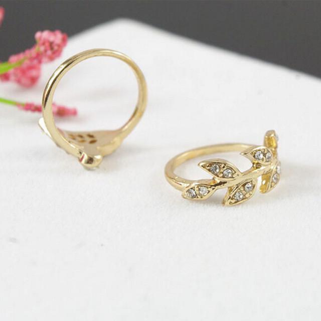 Gold / Silver Rhinestone Ring Set 3pcs