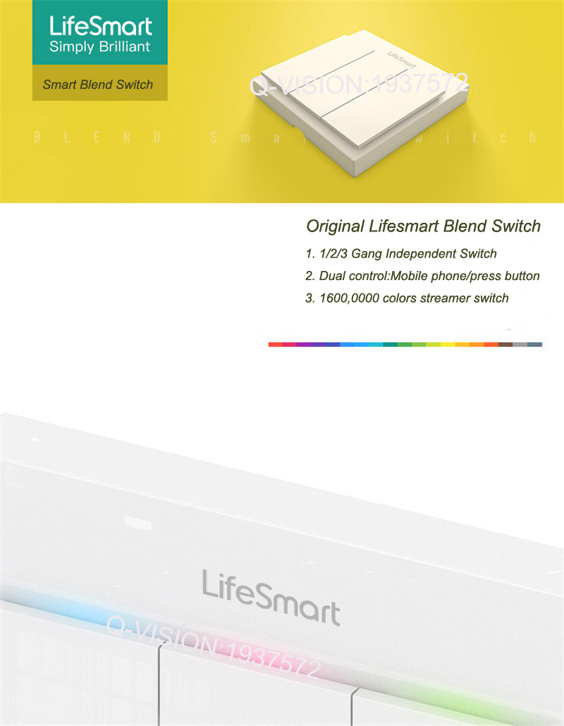 Lifesmart UK Type Blend Streamer Smart Switch Cell Phone APP Remote Control 16 million Color RF433 AC220V Smart Home IOS Android-1