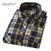 DAVYDAISY Brand Clothes 2018 New Arrival Flannel Men Shirts Long Sleeve Slim Fit Soft Men's Classic Plaid Casual Shirt DS198