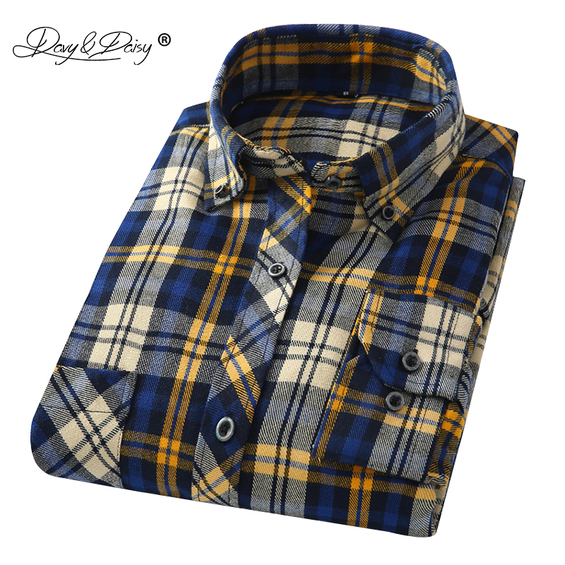 DAVYDAISY Brand Clothes 2019 New Arrival Flannel Men Shirts Long Sleeve Slim Fit Soft Men's Classic Plaid Casual Shirt DS198