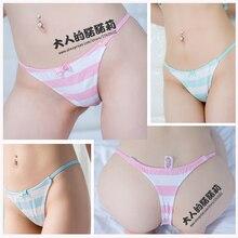 Nonori Girls Cute&Sexy Japanese Anime Style Blue/Pink/Green Stripe Panties G String T back Ver. Modal Cotton Underwear Cosplay