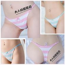 Nonori בנות חמודה וסקסית סגנון אנימה היפני כחול/ורוד/ירוק פס תחתוני חוטיני t בחזרה Ver. כותנה מודאלית underwear קוספליי
