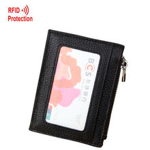 RFID Wallet Antitheft Men Wallets Genuine Leather Card Holder Thin Mini Coins Purse Zipper Wallet Women Credit Card Holder