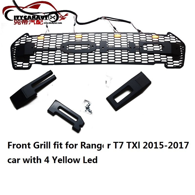 CITYCARAUTO Front raptor grill grille ABS black trims front covers Fit for Ranger T7 Txl pick up car 2015-2015 with 4 Yellow LED abs decorative led emblem logo light front grille for f ord r anger t7 2016 2017 car styling 4 colors grill lamp