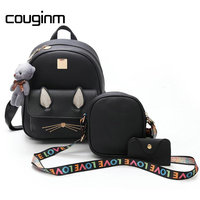 COUGINM Women Fashion PU Leather Backpacks 3Pcs Set Composite Bag Preppy Style Girl Pendant Bear Lady