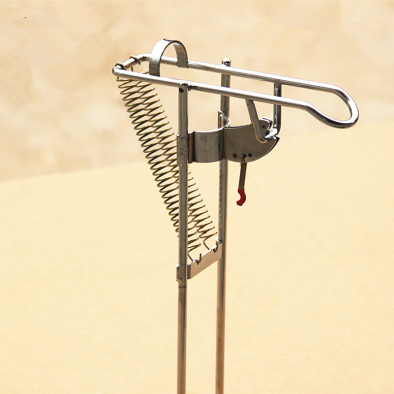 Steel automatic fishing rod mount spring fishing pole for Steel fishing rod