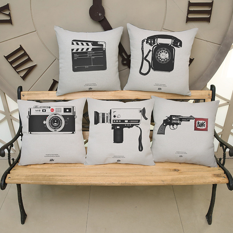 Vintage Movie props Print Cushion Vintage phone video recorder camera pattern Square Throw Pillow bar Sofa Chair Home Decorative image