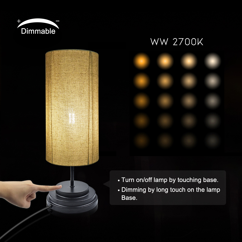 Warm White Led Bulb Touch Bedside Lamp