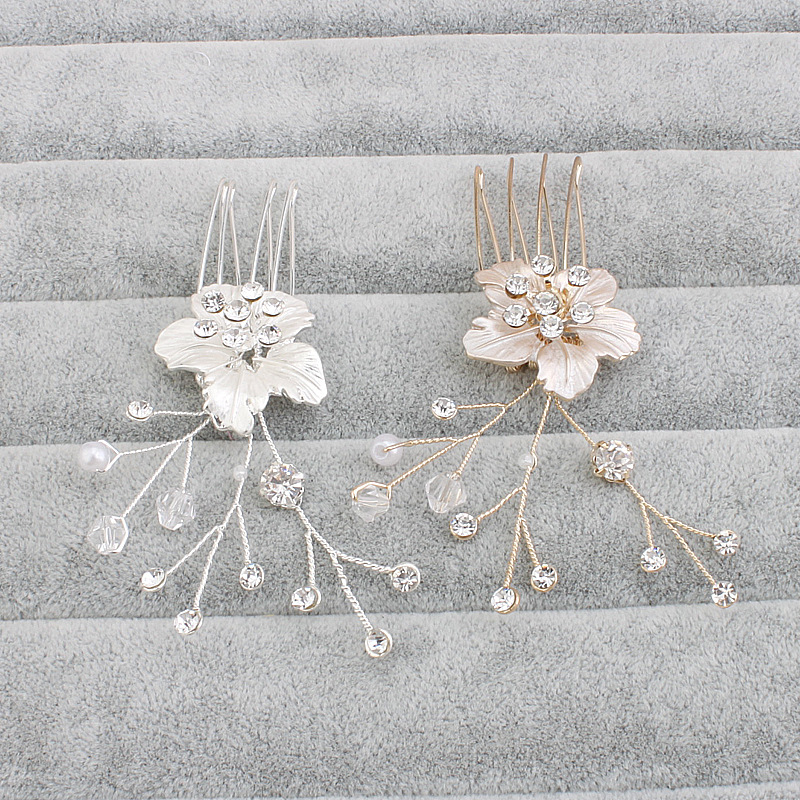 Women Lady Girls gifts Hair Comb Simple Bride Flowers Crystal Hair Pin Clip Accessories Decorations Hair