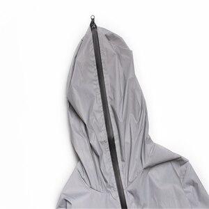 Image 3 - Uplzcoo Светоотражающая куртка для мужчин/женщин harajuku ветровка с капюшоном в стиле хип хоп Уличная Ночная блестящая куртка на молнии JA244