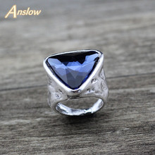 Anslow Fashion Jewelry Charm Classic Design Love Couple Triangle Crystal Women Ring For Wedding Valentine's Day Gift LOW0025AR