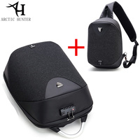 ARCTIC HUNTER 208 Lock Design Business Antitheft Backpack Waterproof Men Backpack Laptop Bag Travel Shoulder Bag Two Pieces Set