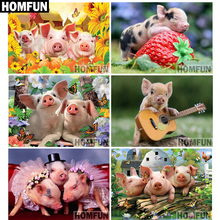 HOMFUN Full Square/Round Drill 5D DIY Diamond Painting Animal pig 3D Embroidery Cross Stitch Home Decor Gift A06815