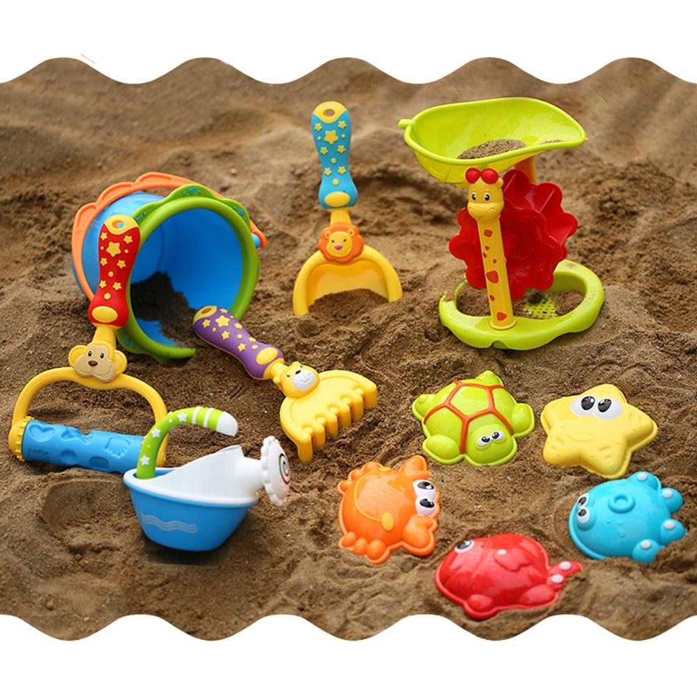 11pcs Funny Kids Cartoon Animal Beach Sand Sandbeach Toys Including Shovels Rake Hourglass Bucket Watering Can Sand Mold
