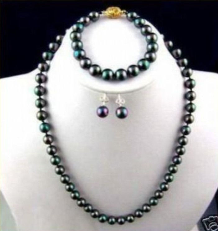 Women Gift word Love real 8-9MM PERFECT TAHITIAN BLACK PEACOCK GREEN PEARL NECKLACE BRACELET EARRING