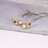 Neue Produkt Set Perle Persönlichkeit Originalität 925 Silber Nadel Gold Wirklich Überzogene Verhindern Allergie Frau Ohrring Schmuck