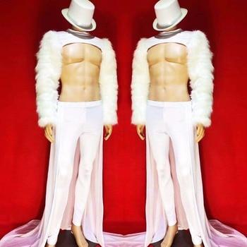 Duży rozmiar biały futro rękawy męska kurtka ogon mężczyzn piosenkarka DS DJ pokaż strój Bar klub nocny Party pokaż etap strój zestaw