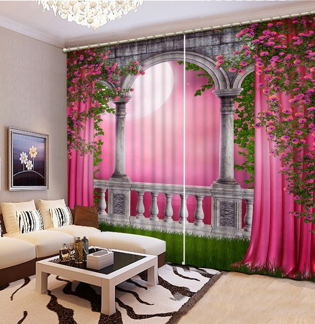 Photo Customize Size New Custom 3D Beautiful Pink Arched Door 3d Curtains Flowers