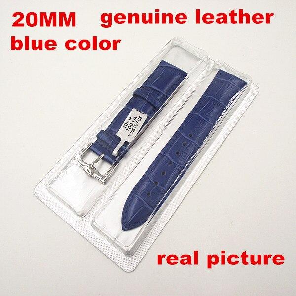 Groothandel 10 Stks/partij Hoge kwaliteit 20 MM echt koe lederen horloge band blauwe kleur-062513