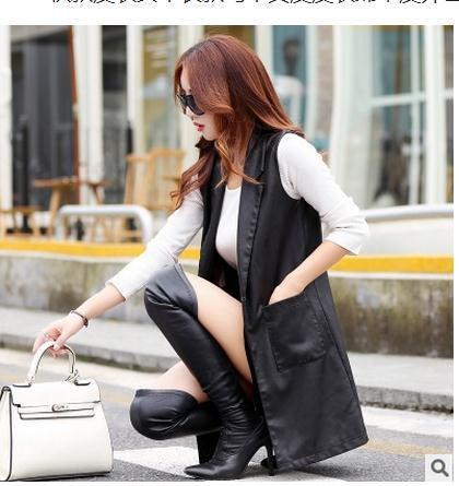 M/5Xl Women Long Section Sheepskun Sleeveless Coat Jackets Slim Skinny Large Size Pu Leather Vest Jacket Waistcoats J1656-2