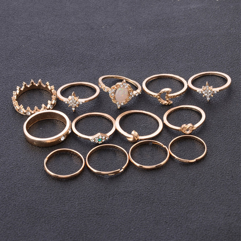 12 pc set Charm Gold Color Midi Finger Ring Set for Women Vintage Knuckle Party Jewelry Knuckle Ring Set Women Jewelry Gift in Wedding Bands from Jewelry Accessories