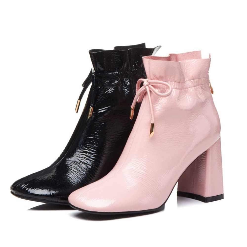 Krazing pot patent deri yuvarlak ayak dantel ruffles yarım çizmeler marka kadın pembe renk modeli Hollywood yıldızı yarım çizmeler L08