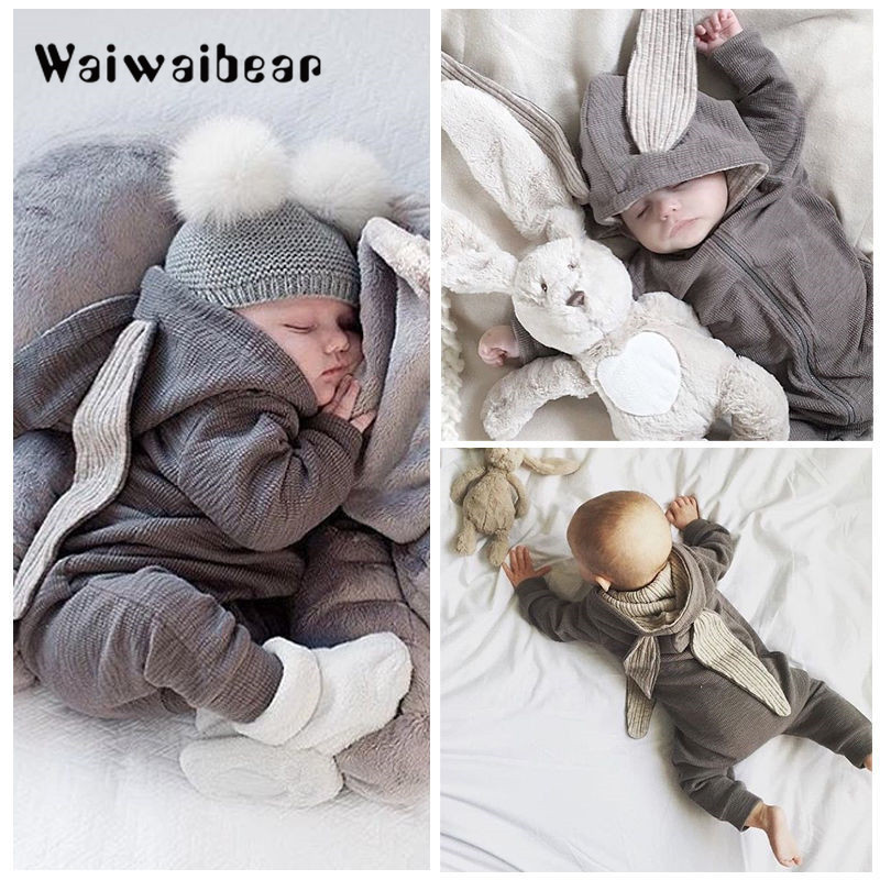 Newborn Baby   Rompers   Hooded Zipper Jumpsuits Infant Clothes Cute Bunny Ear   Rompers   Autumn Winter Warm   Rompers   For Boys Girls