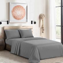 4 PCS 럭셔리 침대 시트 플랫 시트 장착 시트 Pillowcases 통기성 냉각 시트 안티 알레르기 호텔 침구 그레이