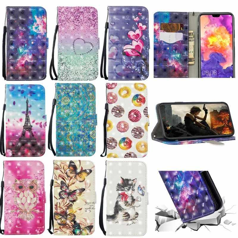 Caso Wallet Virar luxo Para Huawei Companheiro P20 10 P9 P10 Lite Pro 3d Fique Wallet Capa De Couro Para Huawei P inteligente Honra 9 Lite
