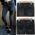 Plus Size Vintage Ripped Jeans Denim Novio parche fo Mujeres Pantalones Casuales Pantalones de Bolsillo 2016 de Corea Chica Verano Femme 33020