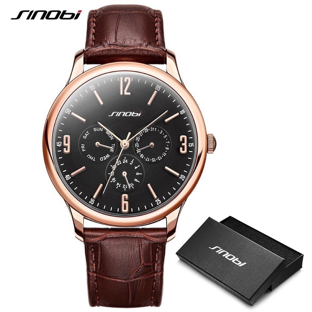 1d04700b4fe7 SINOBI reloj de cuarzo de moda de cuero pulsera para hombre relojes de  marca Japón Movt reloj de cuarzo relojes de pulsera reloj masculino en  Relojes de ...