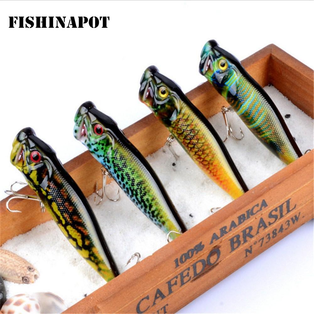 FISHINAPOT 1pcs Brand Painted Popper Wobbler Fishing Lure With Treble Hooks 9.5cm/12g Crankbait Artificial Bait Poper Pesca