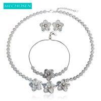 MECHOSEN Exquisite Pretty Flower Necklace Earrings Bracelet Jewelry Sets Silver Color Brass Celebrity Wedding Banquet Dress aros