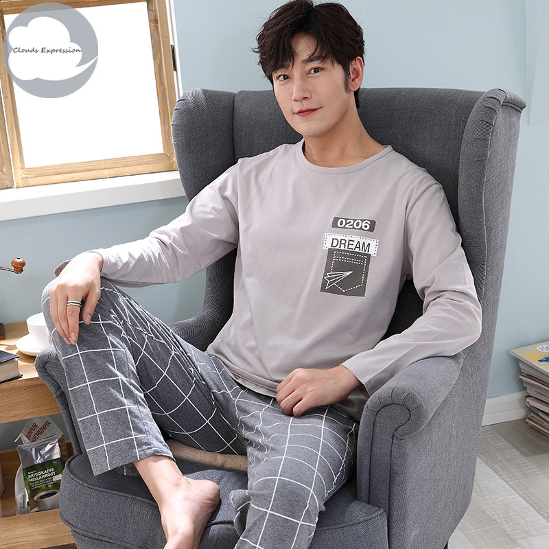 Autumn Winter Knitted Cotton Cartoon Men's Pyjamas Couple   Pajamas     Set   Casual Male Sleepwear Pyjamas Night Pijamas 3XL Homewear