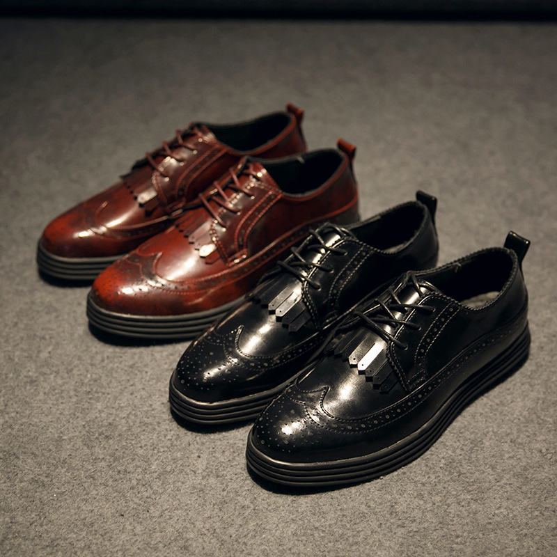 ФОТО 2015 New British Style Carving Tassel Men Oxfords Shoes Black&Wine Red Fashion Round Toe Lace Up Men's Brogue Shoes