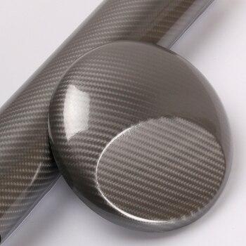 TSAUTOP 1.52x20m air free bubbles high gloss 5d carbon fiber vinyl car sticker Grey (4D primer)