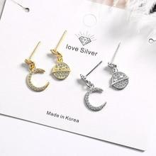 KOFSAC Latest 925 Sterling Silver Earrings For Women Jewelry Asymmetry Zircon Moon Star Earring  Girl Party Accessories