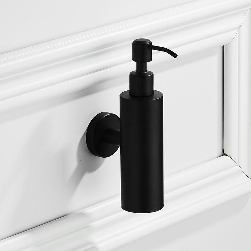 Modern black brushed liquid soap dispenser wall mounted round base bathroom accessories set stainless steel for hand dispenser auswind black hand soap dispenser wall
