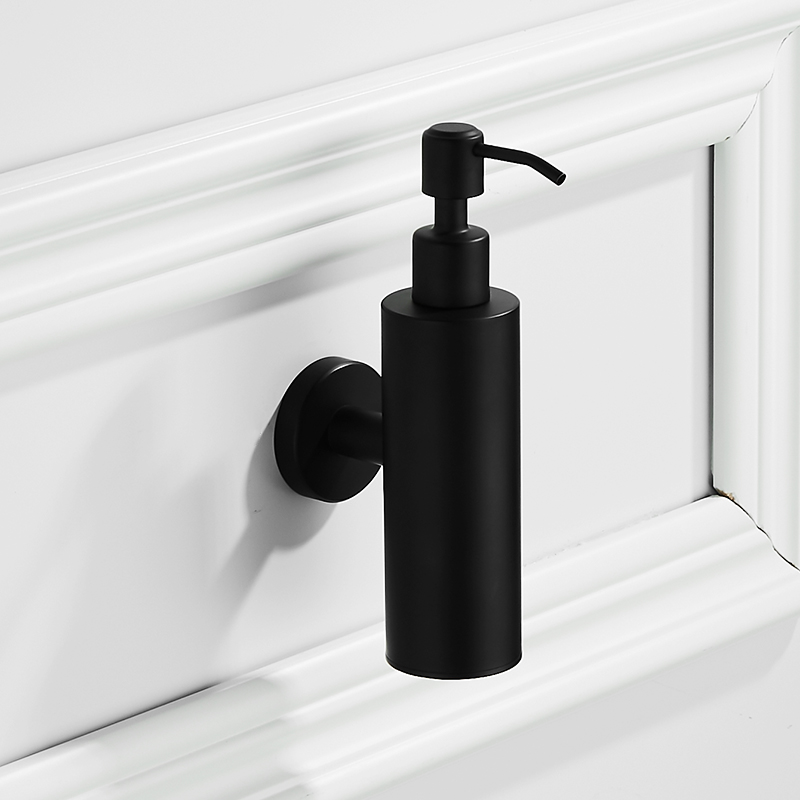 Modern black brushed liquid soap dispenser wall mounted round base bathroom accessories set stainless steel for hand dispenser