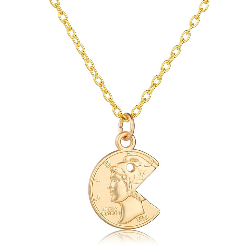 Simple Fashion Christian Carved Coin Pendant Necklace Heart Rose Face Pattern Neck Collar Statement Clavicle Chain Jewelry in Pendant Necklaces from Jewelry Accessories