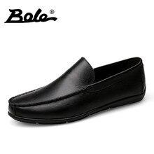 BOEL New Men Driving Shoes Fashion Designer Slip on Men Handmade Moccasins Shoes Comfort Loafers Genuine Leather Shoes Men Flats