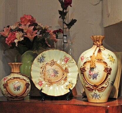 European ceramic ornaments creative home accessories wedding decoration crafts three-piece living room wine cabinet